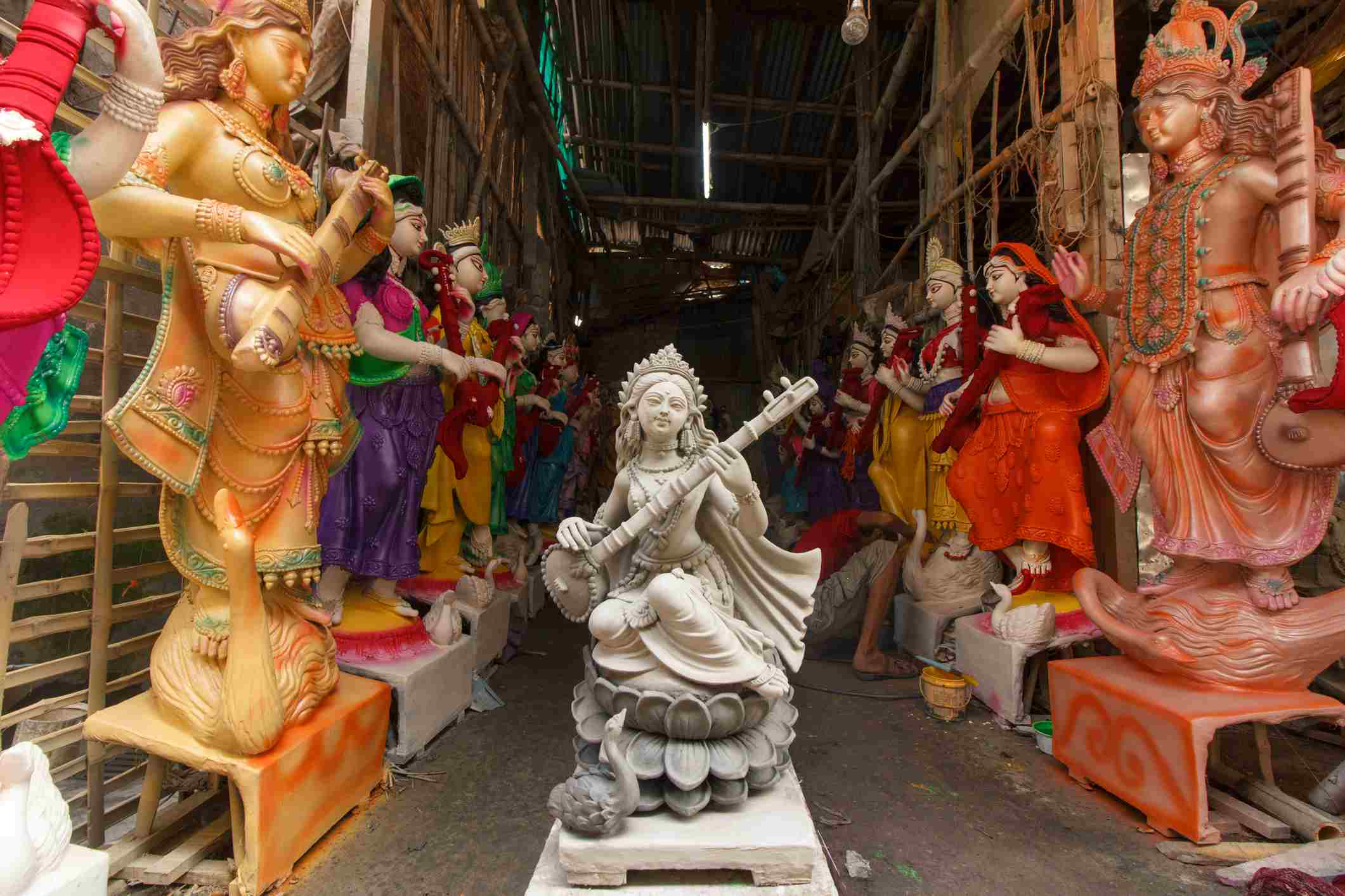 Beauty of raw clay sculptures of Hindu goddesses like Saraswati