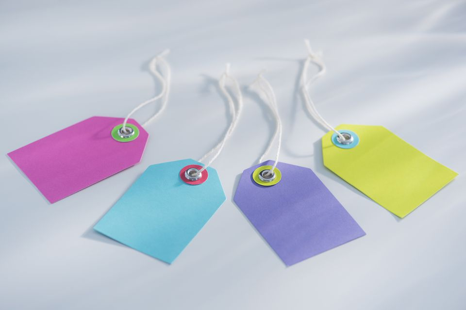 Different colored gift tags