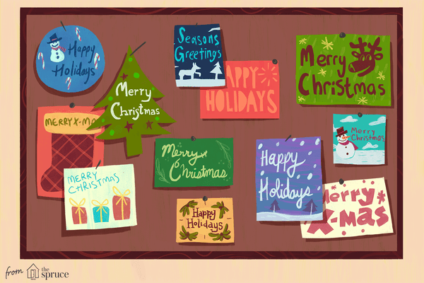 An illustration of different holiday cards.