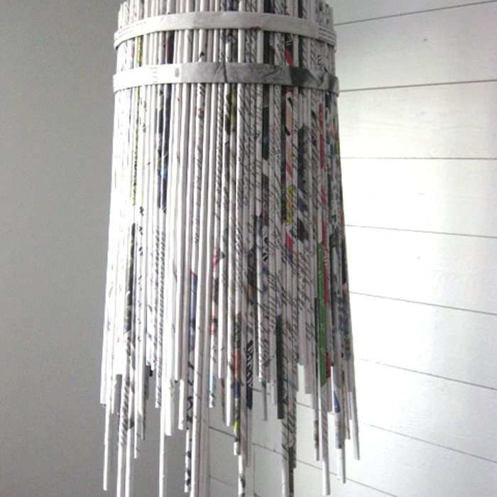 rolled newspaper lamp shade