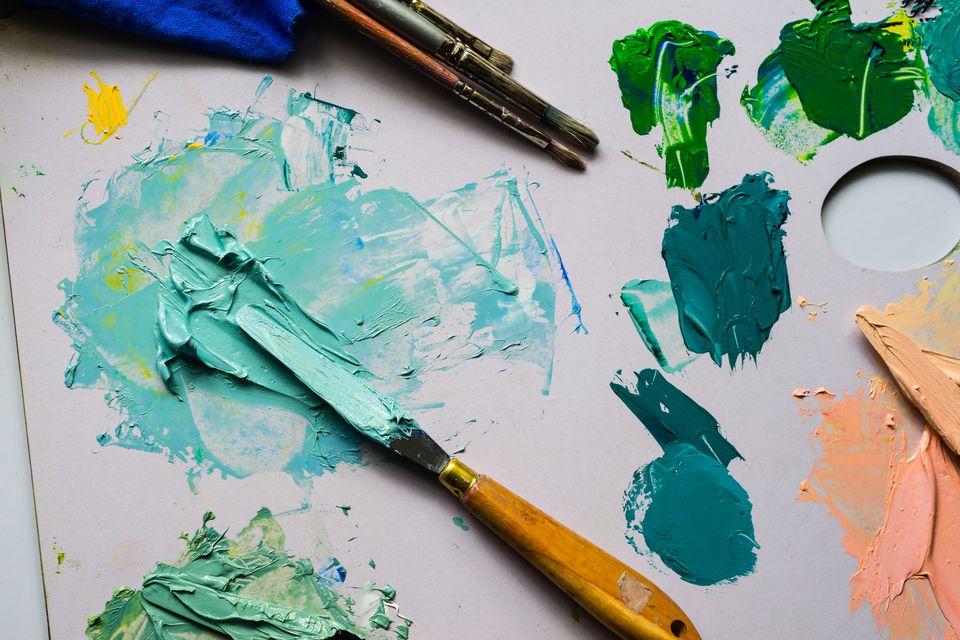 a palette of oil paints