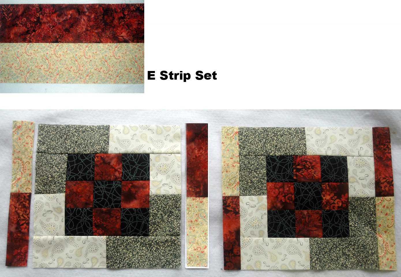 Sew E strip sets and add segments