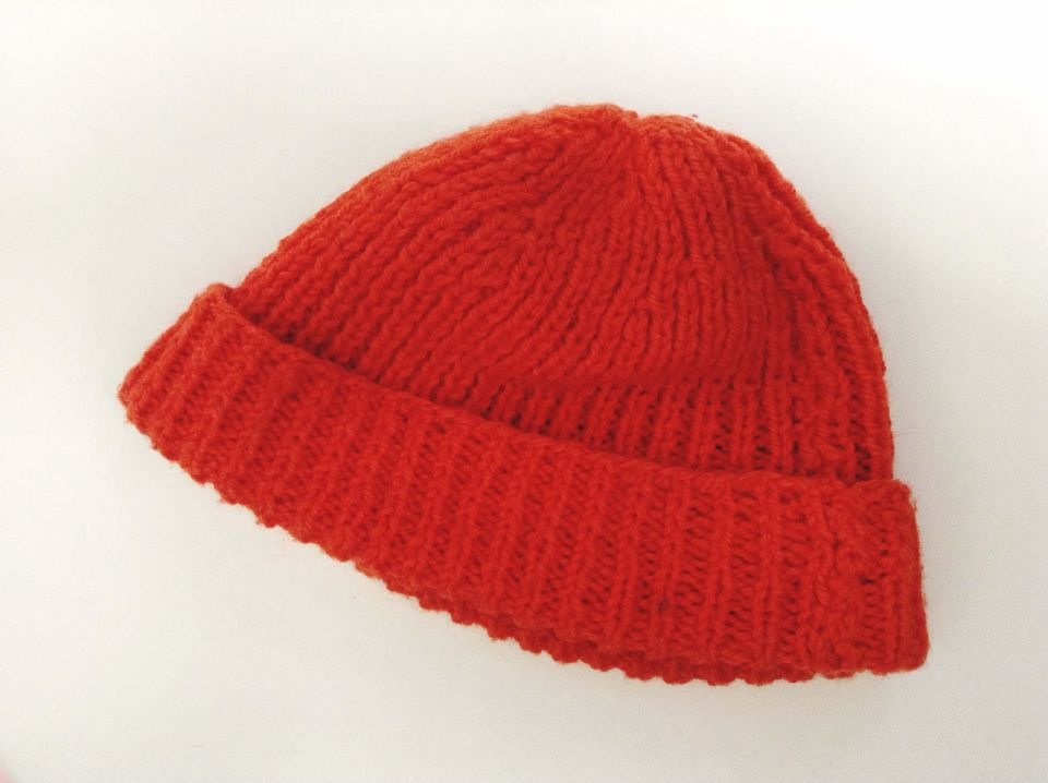 A red ribbed knit hat