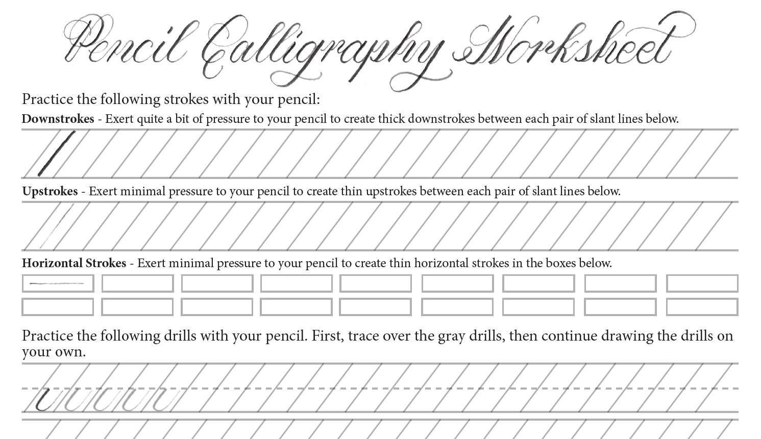 A pencil calligraphy worksheet