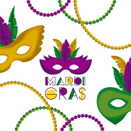 mardi gras poster with several carnival mask with colorful feathers and necklaces over white background