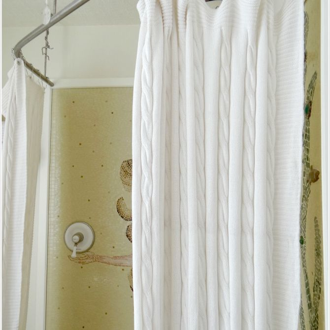 diy shower curtain from a blanket