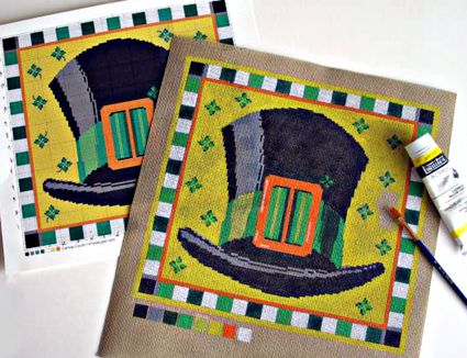 Painting a needlepoint canvas