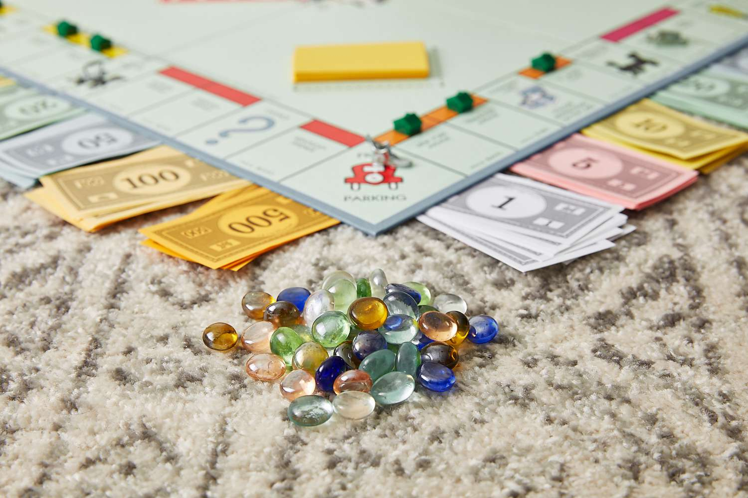 using marbles as currency in monopoly