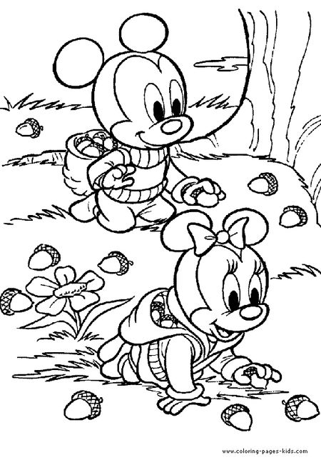 Coloring Pages For Kids Fall Mickey And Minnie Mouse Collecting Acorns