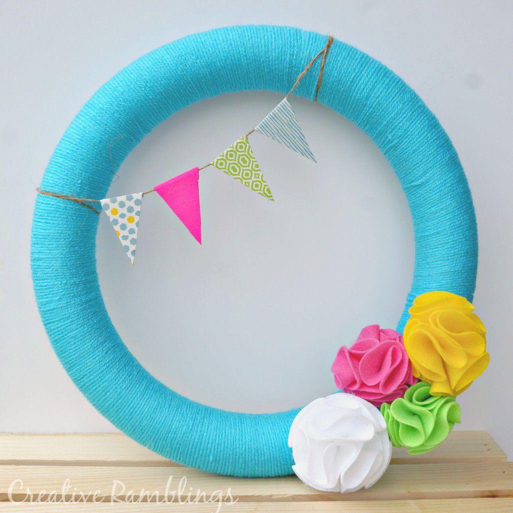Bright aqua summer wreath
