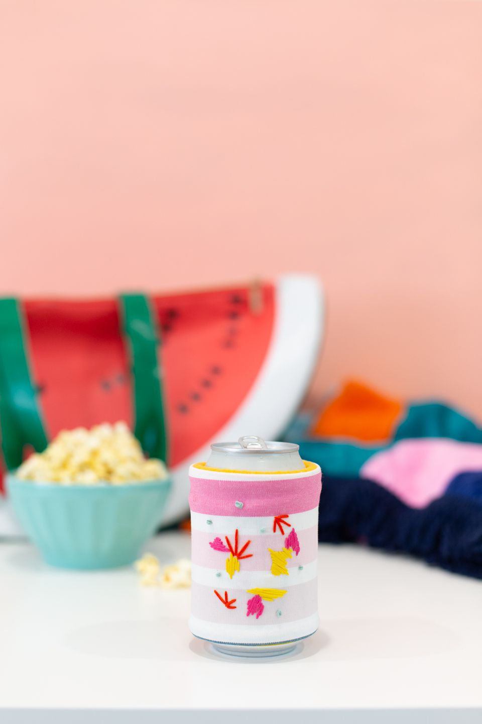 DIY embroidered koozie
