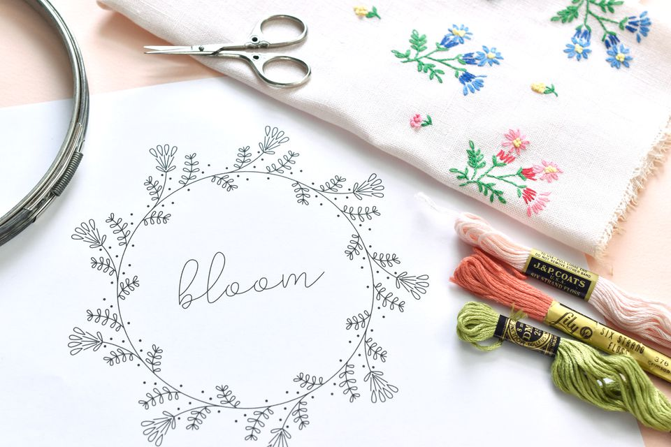 Vintage-Inspired Bloom Frame Embroidery Pattern