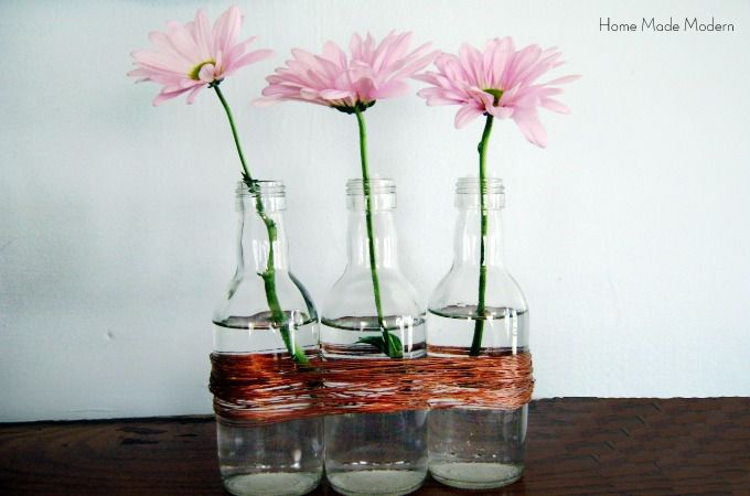 wine bottle vases with copper wire