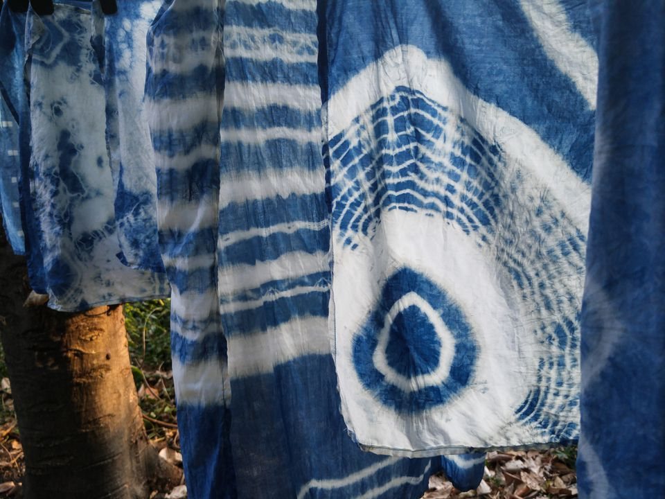 Natural indigo tie dye fabric