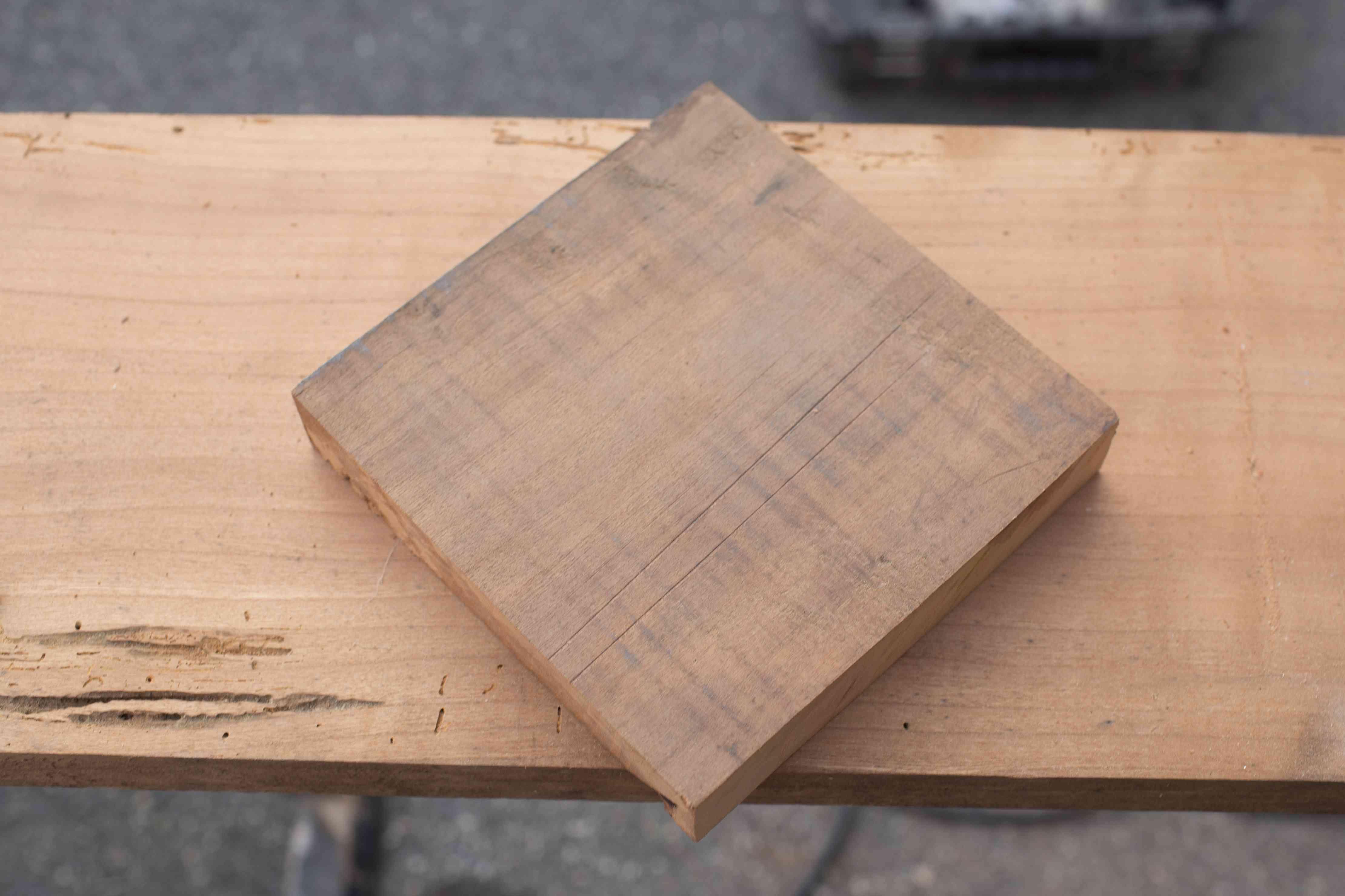 Cut square of wood