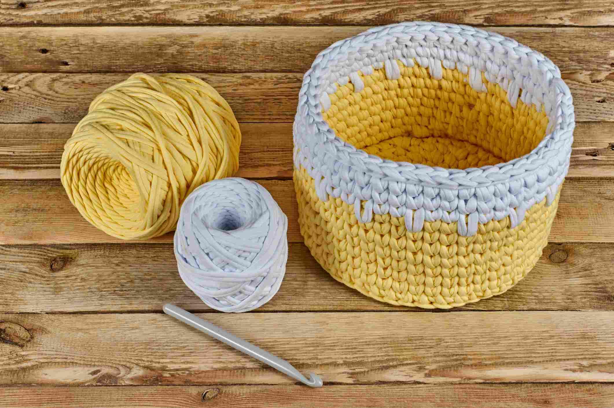 T-shirt Yarn Crochet Basket