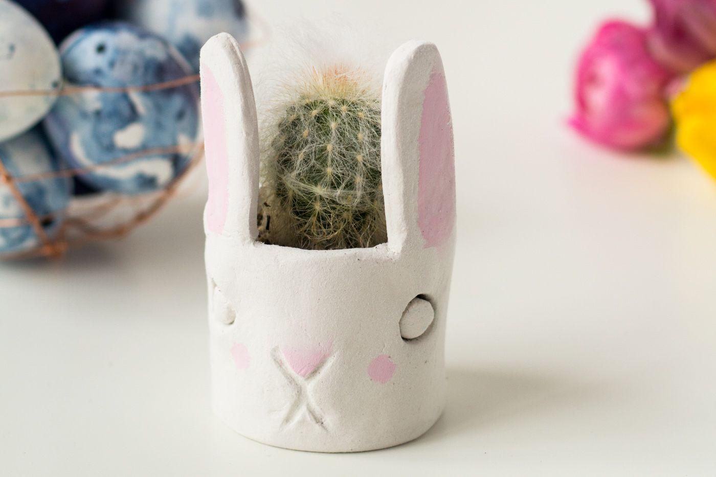 clay bunny diy planter