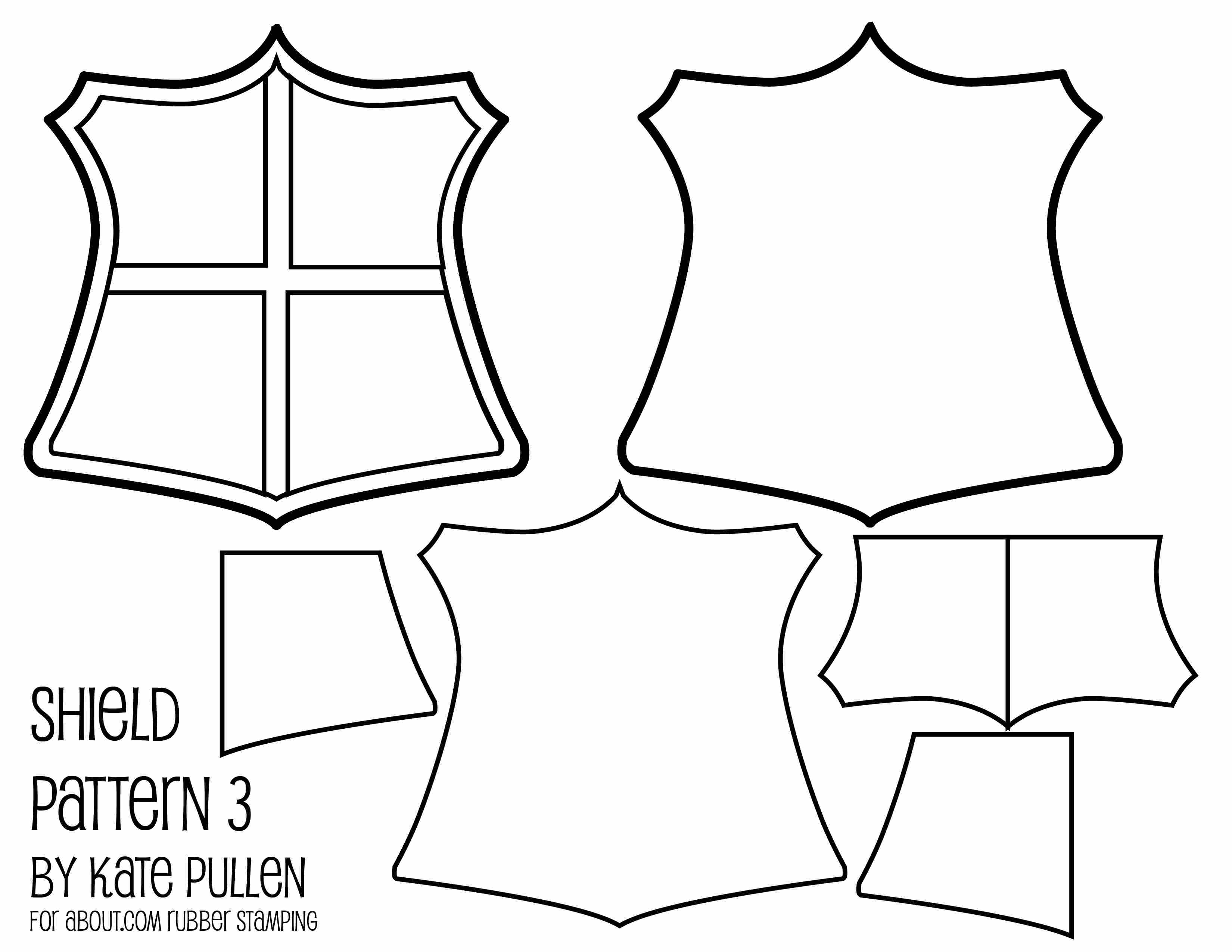 Five Free Shield Templates for Cards and Scrapbook Pages