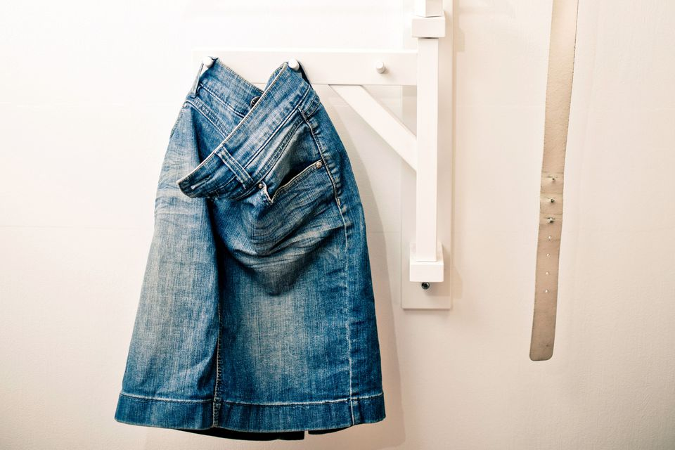 A denim skirt made from worn in jeans