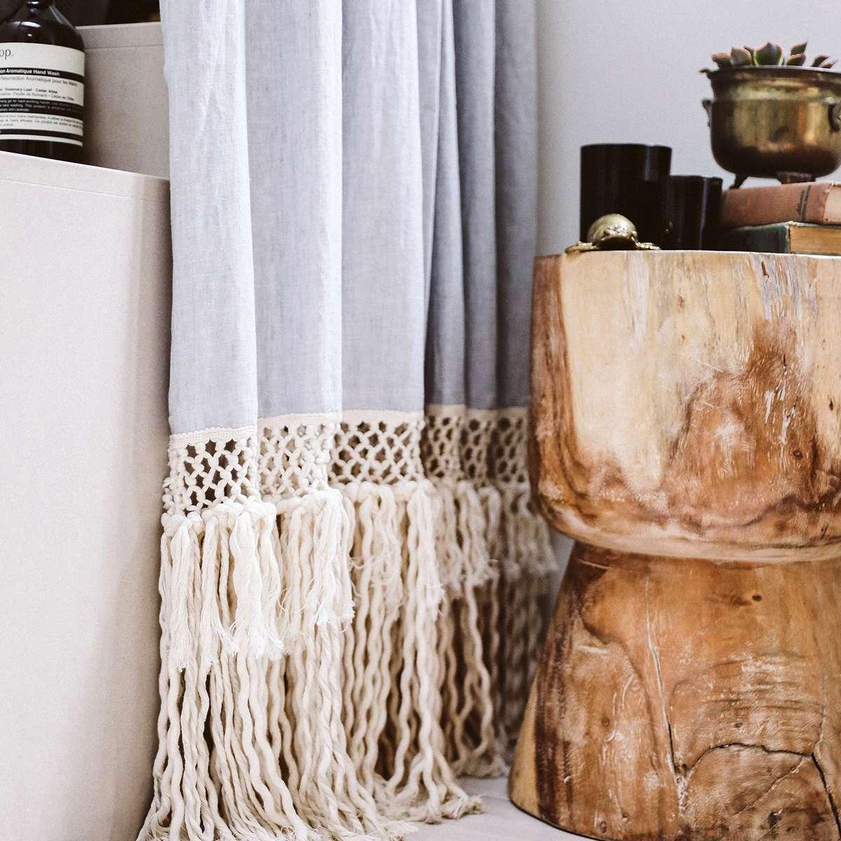 DIY macrame shower curtain