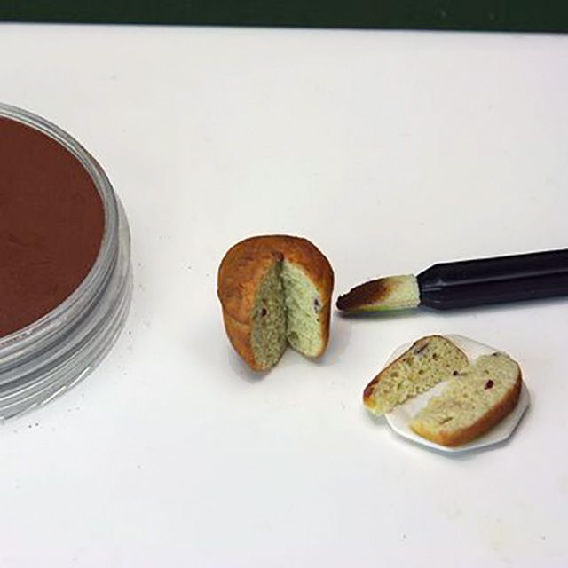Eye shadow used to color panettone made from polymer clay