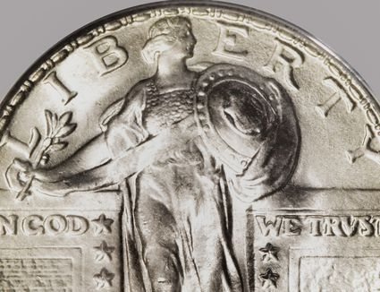 a close-up of a type II standing Liberty quarter