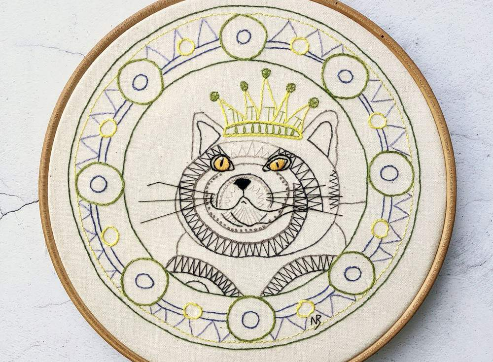 Your Majesty Cat Embroidery Pattern