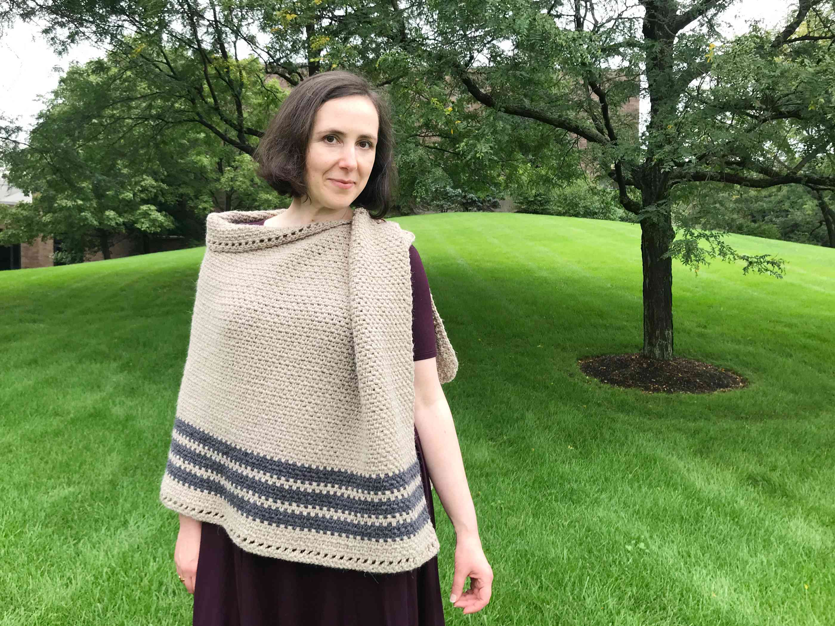 Wearing the Crochet Poncho Open on One Side