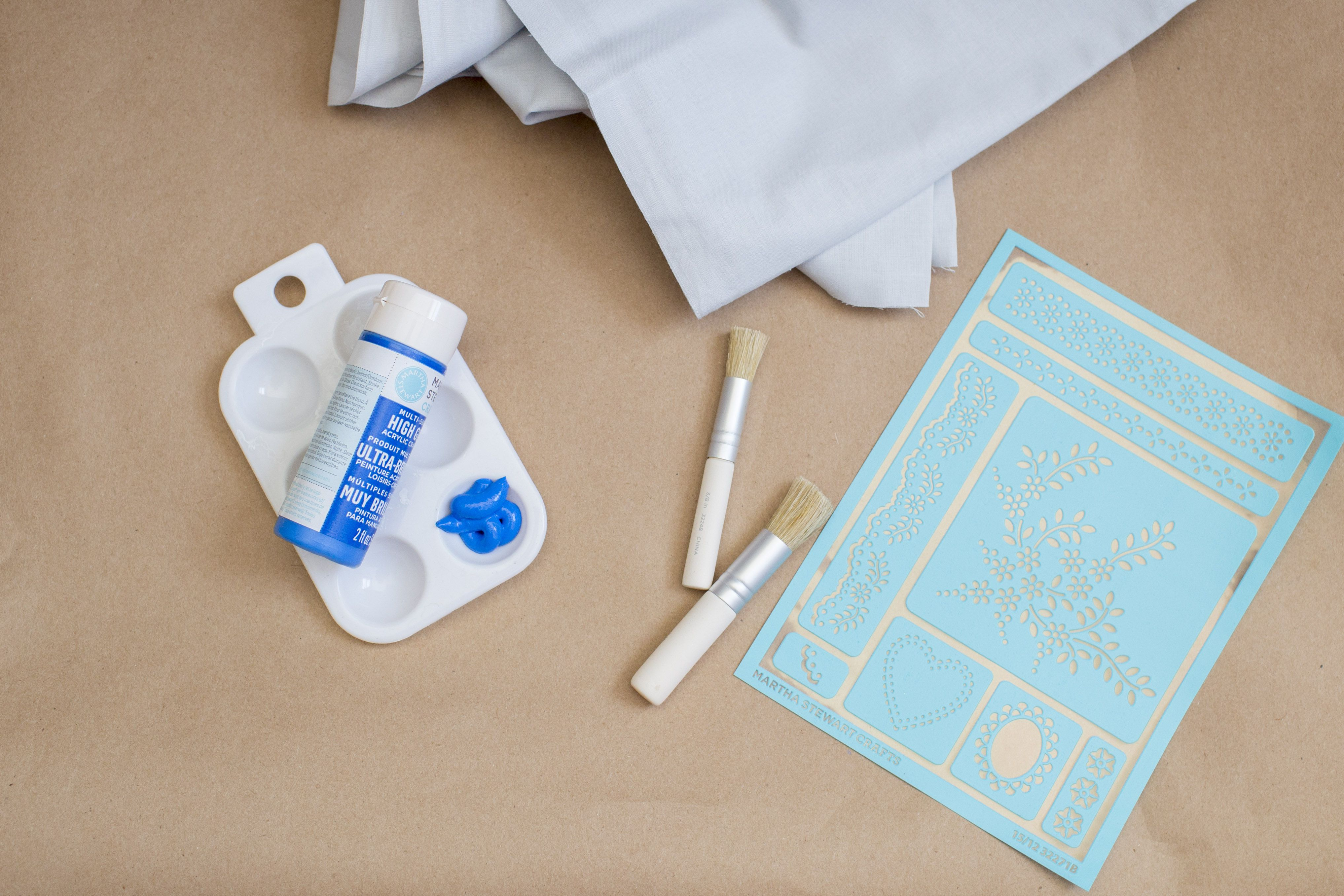 Materials needed to stencil a pattern on fabric