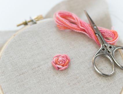 Bullion Rose in Variegated Perle Cotton