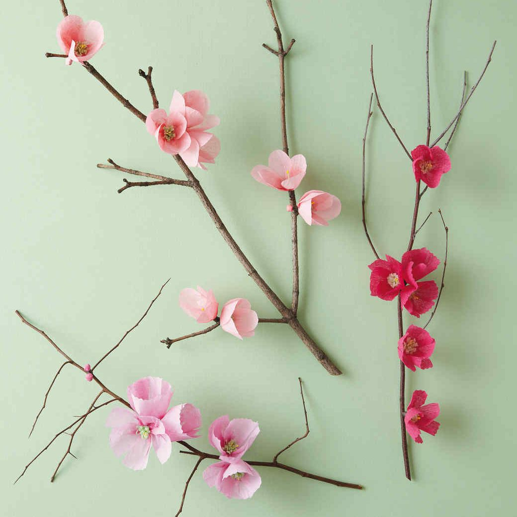 11 diy paper flowers you can make for all occasions tissue paper cherry blossoms from martha stewart paper cherry blossoms on a table mightylinksfo