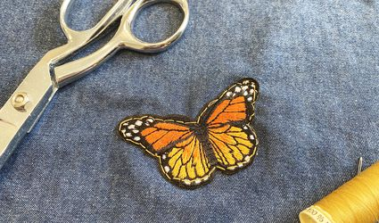 A patch sewn onto denim