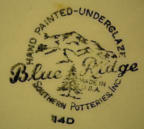 Made by Southern Potteries, Inc. - Erwin, Tenn. Blue Ridge Mark - 1950s