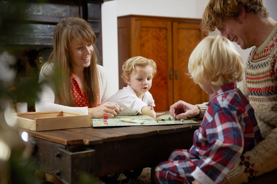 A family playing Christmas bingo