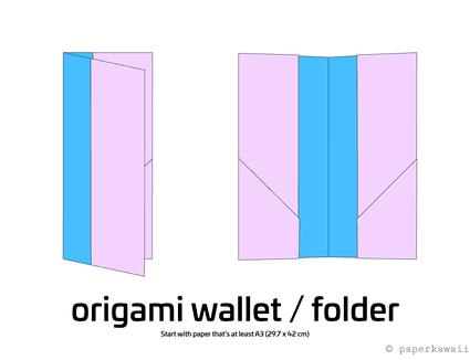 easy origami wallet diagram 1