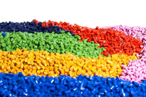 Vibrant colorful pieces of tiny bits of plastic