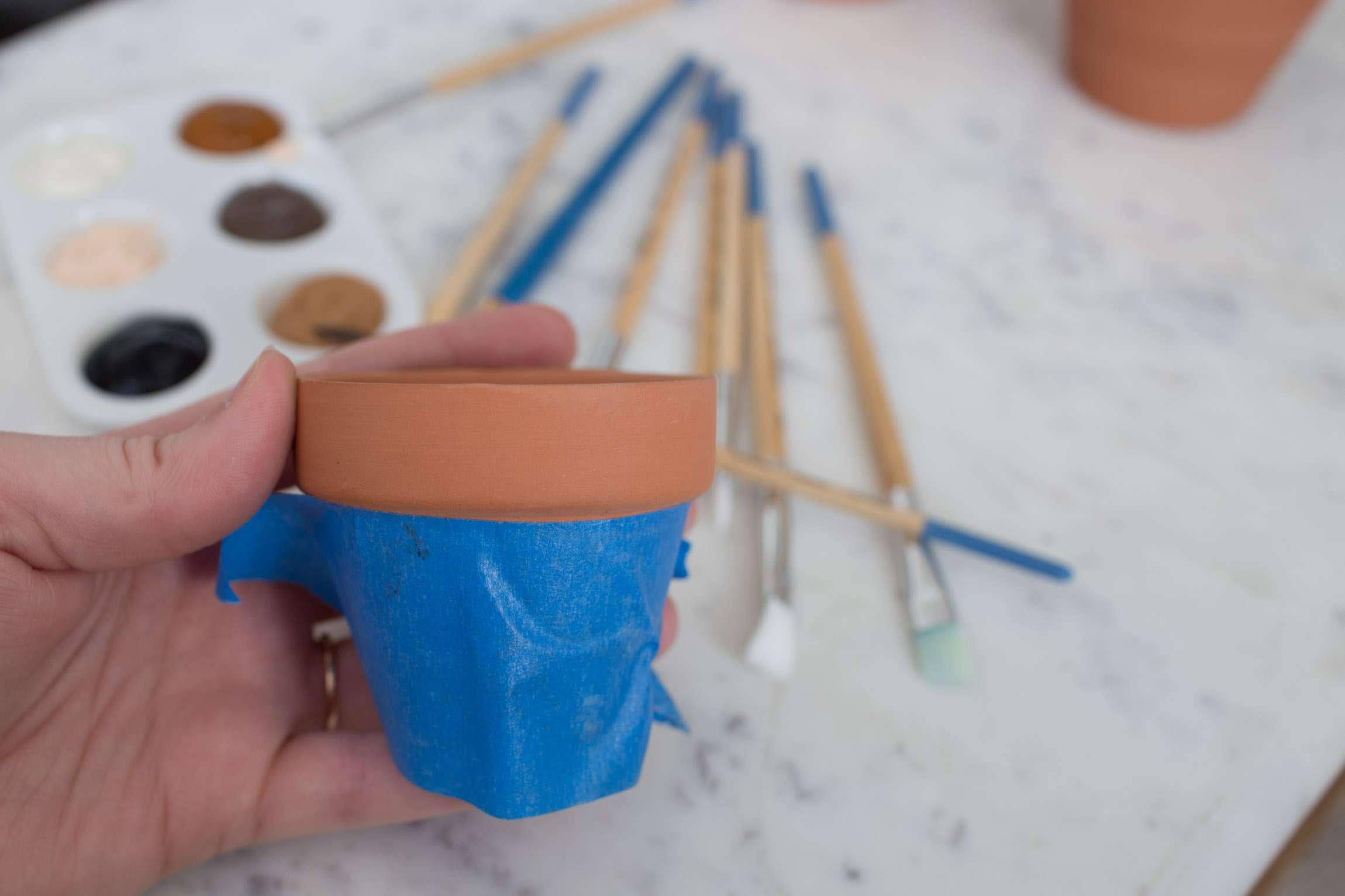 Painter's tape on pot