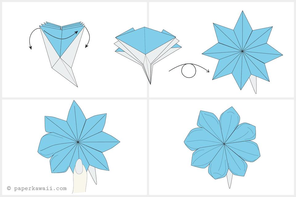 Днем, цветы оригами для открытки поэтапно
