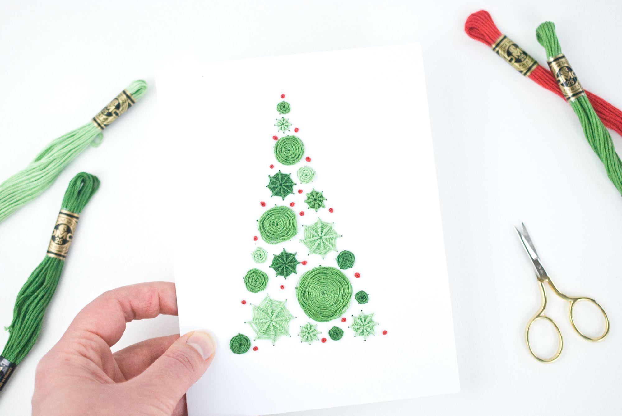 Make an Embroidered Tree Christmas Card