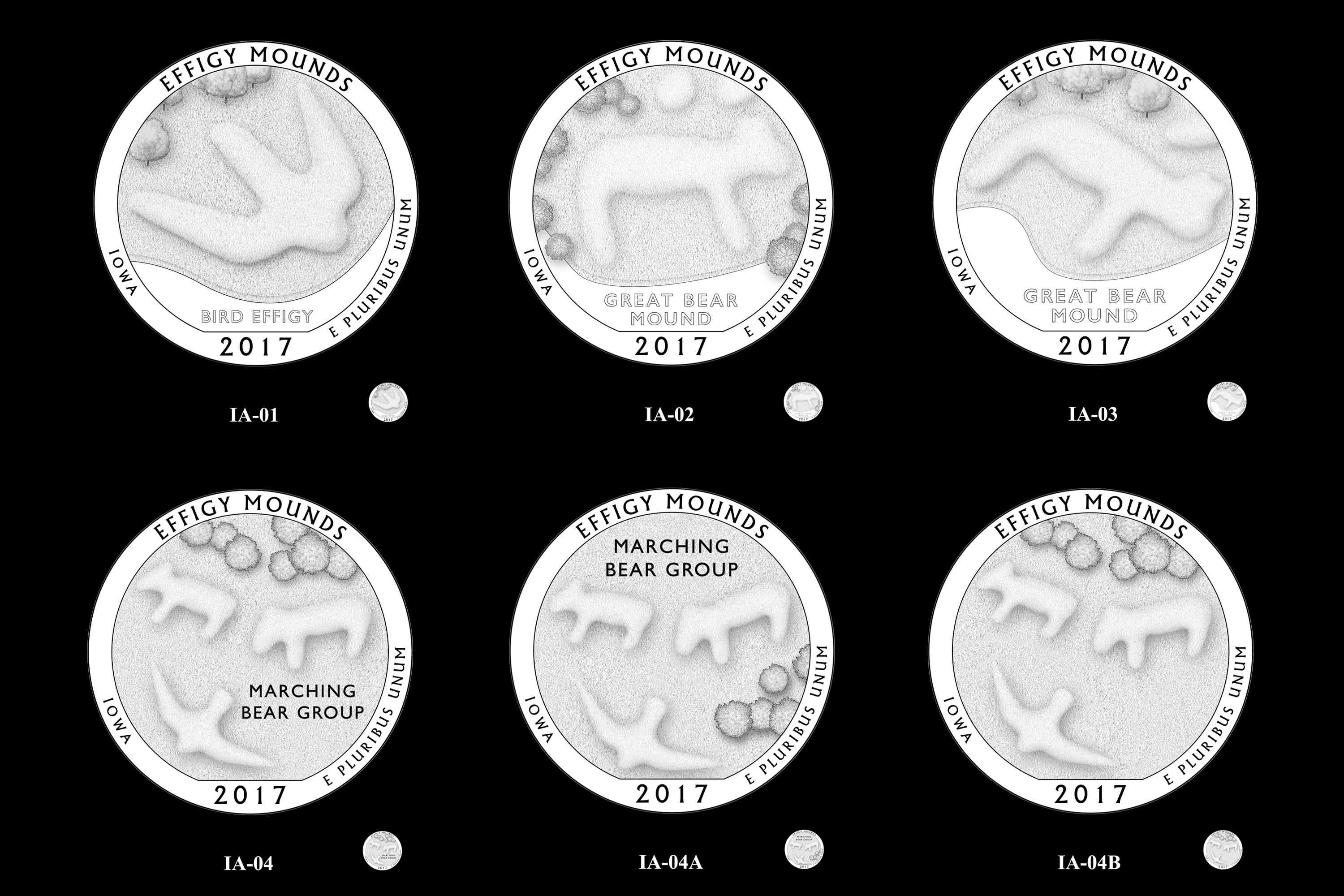 Design Candidates for the 2017 Effigy Mounds America the Beautiful Quarter in Iowa