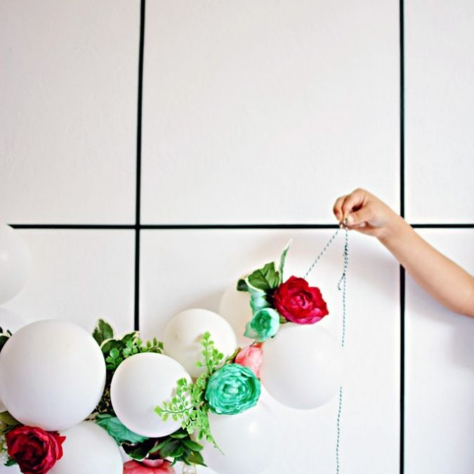 flower and balloon DIY paper banner