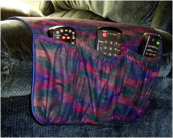 free pattern and directions to sew an armchair remote control holder