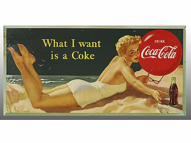 Coca-Cola Collectibles Bathing Beauty Cardboard Poster