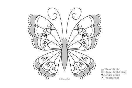 Stem Stitch Butterfly Pattern Adorable Butterfly Pattern