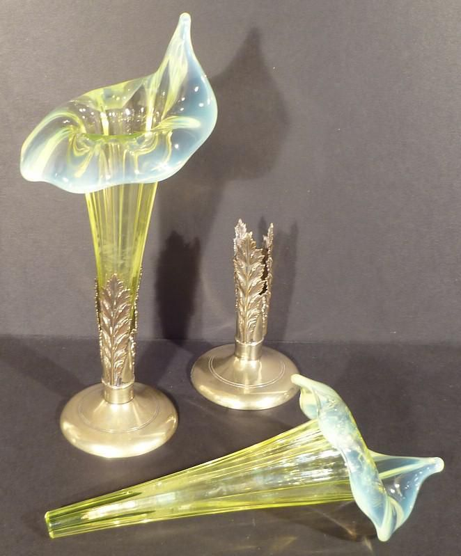 Pair of Jack in the Pulpit uranium glass vases with metal bases