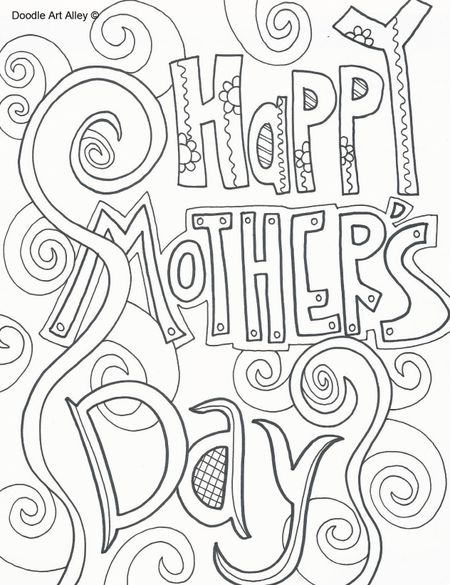 A Coloring Page That Says Happy Mothers