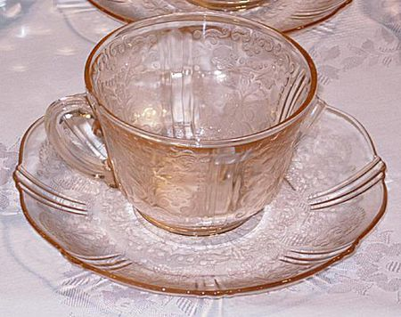 b496f0cc0341 American Sweetheart Pink Depression Glass Cup and Saucer