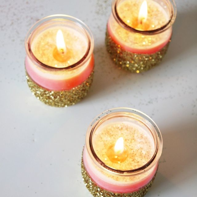 DIY candle holder ideas with glitter