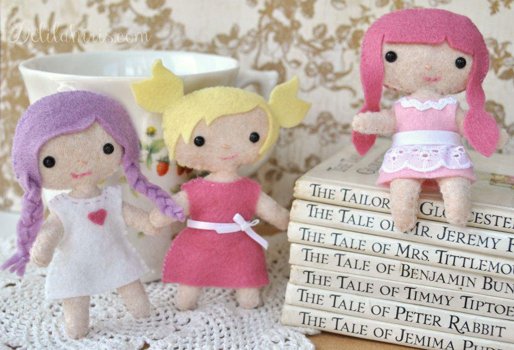 Sassy the Tiny Felt Doll Hand Sewing Pattern