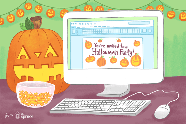 An illustration of a jack-o-lantern by a computer screen and a bowl of candy corn. There's a Halloween party invite on the computer screen